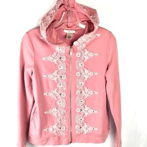 VERTIGO bling hoodie lace embroidered pink M